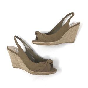 H by Halston Brown Slingback Espadrille Wedges